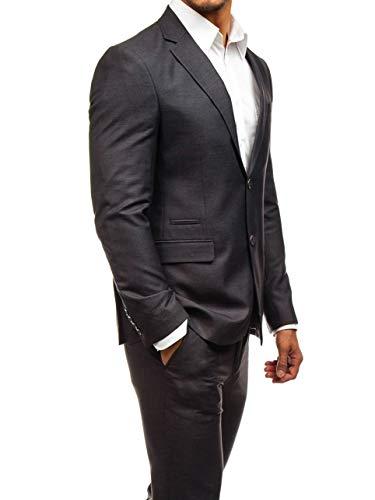 BOLF Herren 3-Teilig Anzug Sakko Anzughose Weste Elegant Classic Kariert Slim Fit BIBLOS 200K Weinrot L/52 [1J2] - 3