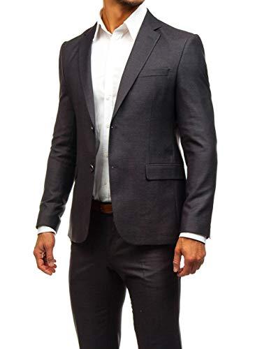 BOLF Herren 3-Teilig Anzug Sakko Anzughose Weste Elegant Classic Kariert Slim Fit BIBLOS 200K Weinrot L/52 [1J2] - 4