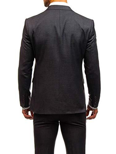 BOLF Herren 3-Teilig Anzug Sakko Anzughose Weste Elegant Classic Kariert Slim Fit BIBLOS 200K Weinrot L/52 [1J2] - 5