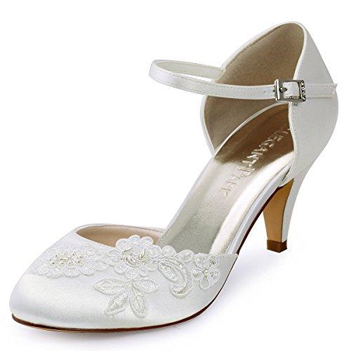 ElegantPark HC1604 Ivory Brautschuhe Geschlossene Zehen Stickerei Perlen Satin EU 40