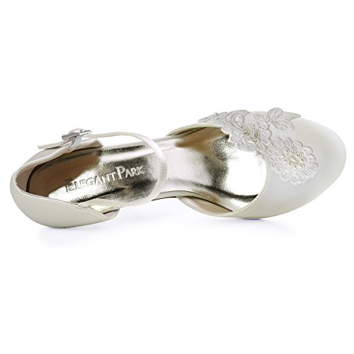 ElegantPark HC1604 Ivory Damen Geschlossene Zehen Stickerei Perlen Satin Brautschuhe EU 40 -