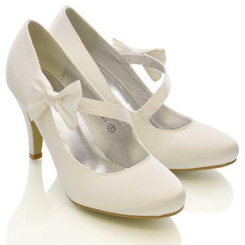 Essex Glam Damen Stiletto Pumps in weiß, elfenbein oder satin