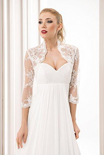 Damen Hochzeit Spitze Bolero fur die Braut Bolero Jacke 3/4 langer armel, mit Perlen und Flittern - 2