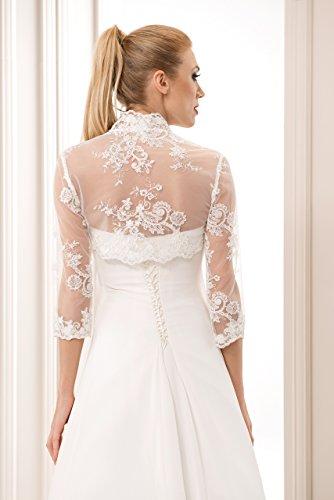 Damen Hochzeit Spitze Bolero fur die Braut Bolero Jacke 3/4 langer armel, mit Perlen und Flittern - 3