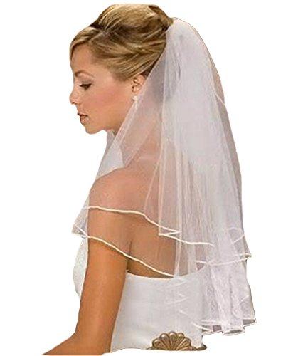 Brautschleier, 2 Lagen mit Kamm, Weiß, Ivory