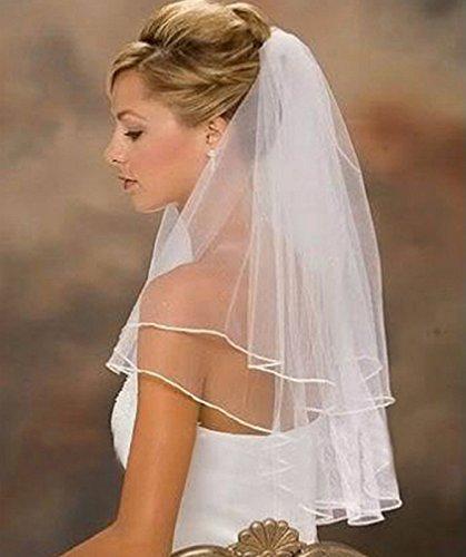 Unbekannt Schleier Webkante Brautschleier 2 Lagen mit Kamm 2-lagig Hochzeit Braut NEU Weiß Ivory (Ivory) - 2