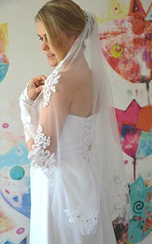 Schleier Brautschleier FEIN 1 Lage mit Kamm Strass Hochzeit Braut Weiß Ivory 85 cm (Ivory) - 2