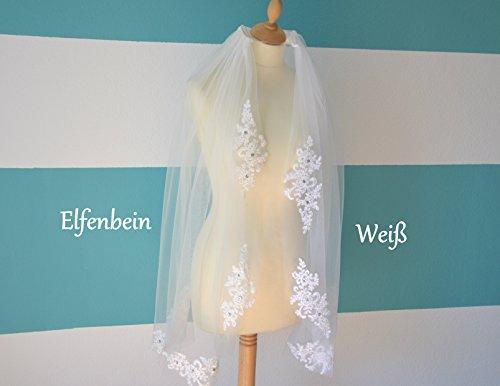 Schleier Brautschleier FEIN 1 Lage mit Kamm Strass Hochzeit Braut Weiß Ivory 85 cm (Ivory) - 3