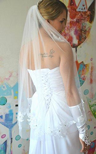 Schleier Brautschleier FEIN 1 Lage mit Kamm Strass Hochzeit Braut Weiß Ivory 85 cm (Ivory) - 4