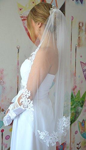 Schleier Brautschleier FEIN 1 Lage mit Kamm Strass Hochzeit Braut Weiß Ivory 85 cm (Ivory) - 5