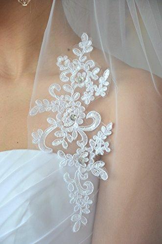 Schleier Brautschleier FEIN 1 Lage mit Kamm Strass Hochzeit Braut Weiß Ivory 85 cm (Ivory) - 6