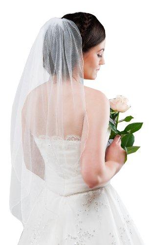 Schlichter Schleier Brautschleier aus Feintüll mit Swarovski Steinen, creme ivory - 2