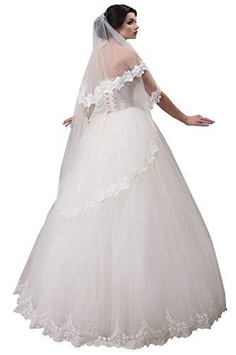 Schlichter Brautschleier mit Kurbelkante, einstufig