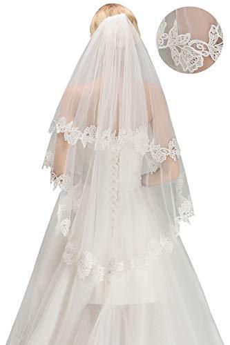 Babyonlinedress® Schlichter Brautschleier Schleier mit Kurbelkante, einstufig aus Feintüll 150cm, Eifenbein - 2