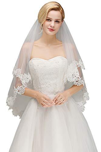 Babyonlinedress® Schlichter Brautschleier Schleier mit Kurbelkante, einstufig aus Feintüll 150cm, Eifenbein - 3