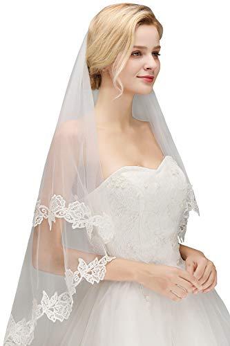 Babyonlinedress® Schlichter Brautschleier Schleier mit Kurbelkante, einstufig aus Feintüll 150cm, Eifenbein - 4
