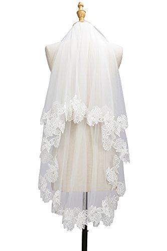 Babyonlinedress® Schlichter Brautschleier Schleier mit Kurbelkante, einstufig aus Feintüll 150cm, Eifenbein - 5