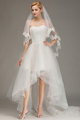 Babyonlinedress® Schlichter Brautschleier Schleier mit Kurbelkante, einstufig aus Feintüll 150cm, Eifenbein - 6