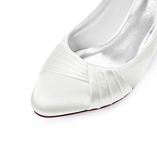 ElegantPark HC1608 Ivory Damen Geschloessene Zehen Komfort Pleated Satin Pumps Brautschuhe EU 40 -