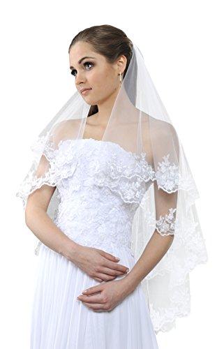 Schleier fur die Braut mit Spitzenborte, 2 Schicht