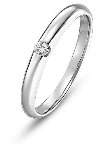 CHRIST Diamonds Damen-Ring 333er Weißgold 1 Brillanten ca. 0,06 Karat weißgold, 52 (16.6)