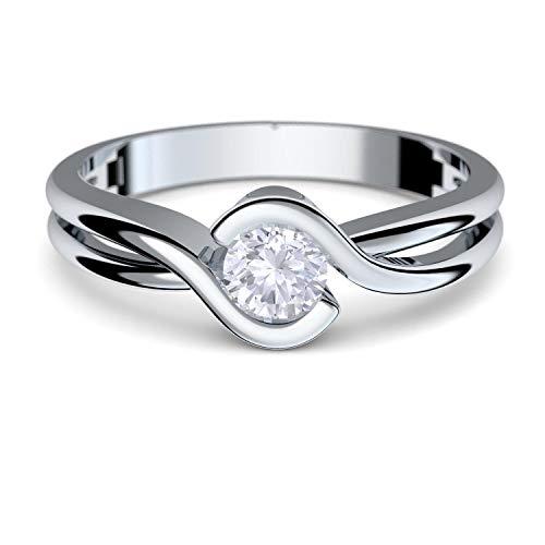 Gold Ring Verlobungsringe Weißgold 333 echt Gold von AMOONIC mit Zirkonia Stein Luxusetui Goldring Weißgold Ring Zirkonia wie Diamant Ehering Gold Trauring Damenschmuck FF388WG333ZIFA58