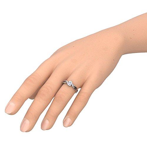 Gold Ring Verlobungsringe Weißgold 333 echt Gold von AMOONIC mit Zirkonia Stein Luxusetui Goldring Weißgold Ring Zirkonia wie Diamant Ehering Gold Trauring Damenschmuck FF388WG333ZIFA58 - 4