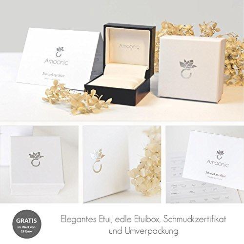 Gold Ring Verlobungsringe Weißgold 333 echt Gold von AMOONIC mit Zirkonia Stein Luxusetui Goldring Weißgold Ring Zirkonia wie Diamant Ehering Gold Trauring Damenschmuck FF388WG333ZIFA58 - 6