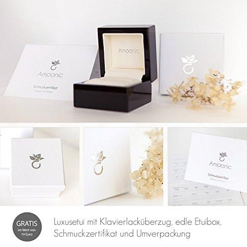 Gold Ring Verlobungsringe Weißgold 333 echt Gold von AMOONIC mit Zirkonia Stein Luxusetui Goldring Weißgold Ring Zirkonia wie Diamant Ehering Gold Trauring Damenschmuck FF388WG333ZIFA58 - 8