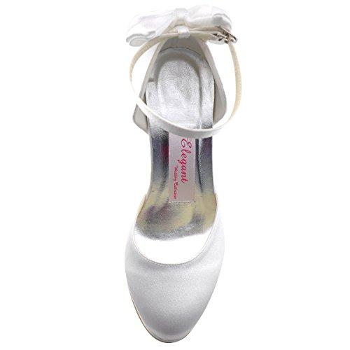 Elegantpark AJ091-PF Weiss Satin Stiletto Runde Geschlossene Zehen Plateau Pumps Damen Hochzeit Brautschuhe Gr.39 (UK6) -