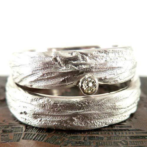 Einzigartige Trauringe in Silber mit Zirkonia, individuell strukturiert