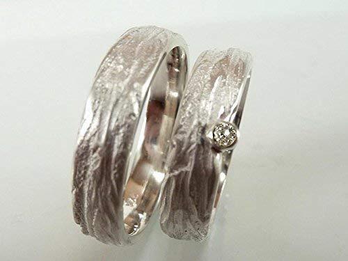 Einzigartige Trauringe in Silber mit Zirkonia, individuell strukturiert - handgefertigt by SILVERLOUNGE - 3