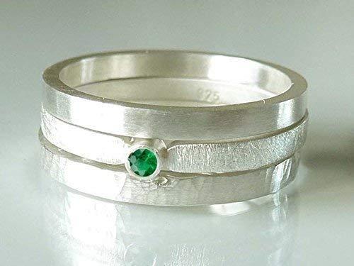 Silberring mit Smaragd Verlobungsring, Vorsteckring, Beisteckring, Verlobung - handgefertigt by SILVERLOUNGE - 2