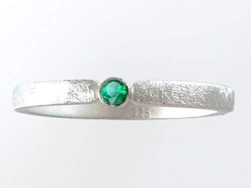 Silberring mit Smaragd Verlobungsring, Vorsteckring, Beisteckring, Verlobung - handgefertigt by SILVERLOUNGE - 3