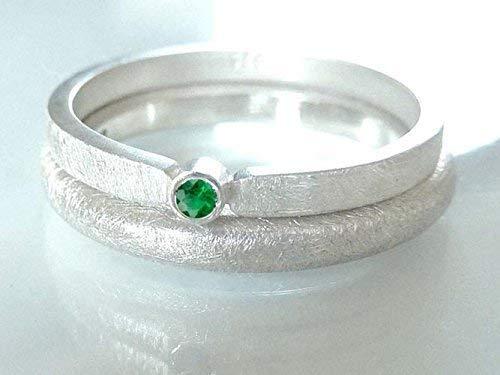 Silberring mit Smaragd Verlobungsring, Vorsteckring, Beisteckring, Verlobung - handgefertigt by SILVERLOUNGE - 4