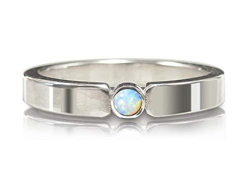 Verlobungsring Ring aus Sterlingsilber poliert mit Opal blaugrün - Vorsteckring, Antragsring, Stapelring - handgefertigt by SILVERLOUNGE - 2