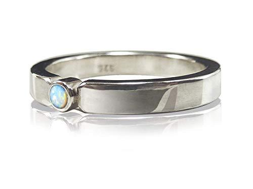 Verlobungsring Ring aus Sterlingsilber poliert mit Opal blaugrün - Vorsteckring, Antragsring, Stapelring - handgefertigt by SILVERLOUNGE - 3