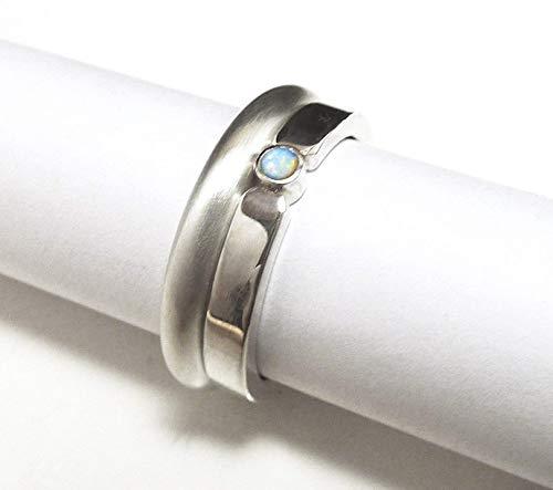 Verlobungsring Ring aus Sterlingsilber poliert mit Opal blaugrün - Vorsteckring, Antragsring, Stapelring - handgefertigt by SILVERLOUNGE - 4