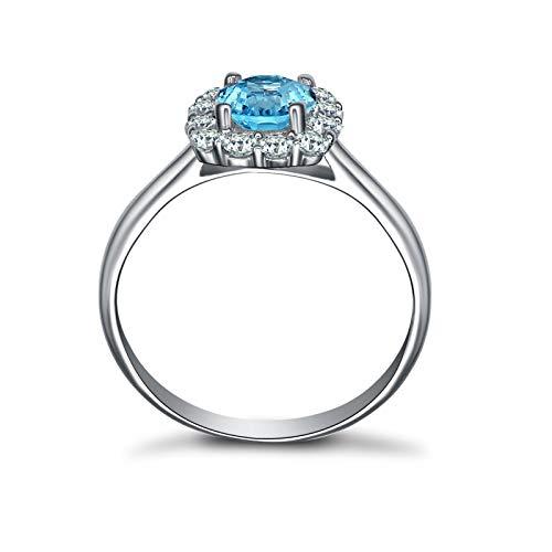 SonMo Ring Solitär 925 Sterling Silber Hochzeit Ring Eheringe Heiratsantrag Ring Silber Quadrat Stein mit Zirkonia Solitär Ring Silber Hellblau Topas Rundschliff Ringe Damen 53 (16.9) - 2