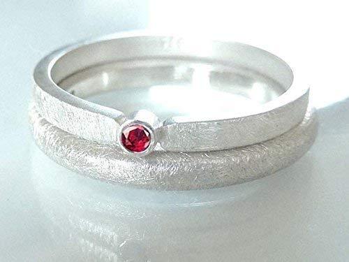 Silberring mit Rubin Verlobungsring, Vorsteckring, Beisteckring, Verlobung - handgefertigt by SILVERLOUNGE - 3