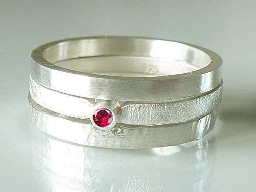 Silberring mit Rubin Verlobungsring, Vorsteckring, Beisteckring, Verlobung - handgefertigt by SILVERLOUNGE - 4