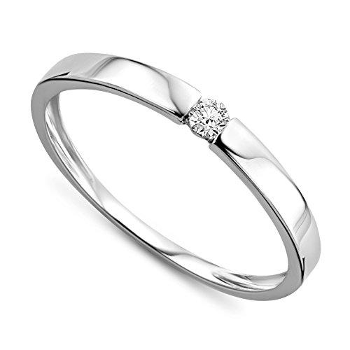 Verlobungsring Diamant 9 Karat (375) 0.05crt Weißgold