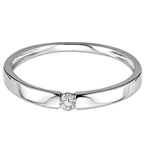 Orovi Ring für Damen Verlobungsring Gold Solitärring Diamantring 9 Karat (375) Brillianten 0.05crt Weißgold oder GelbGold Ring mit Diamanten - 2