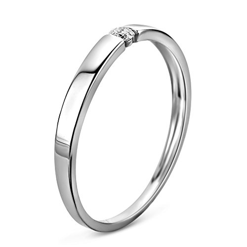 Orovi Ring für Damen Verlobungsring Gold Solitärring Diamantring 9 Karat (375) Brillianten 0.05crt Weißgold oder GelbGold Ring mit Diamanten - 3