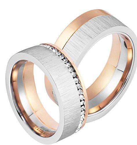 Partnerringe zur Verlobung, Trauung, Edelstahl, Zirkonia