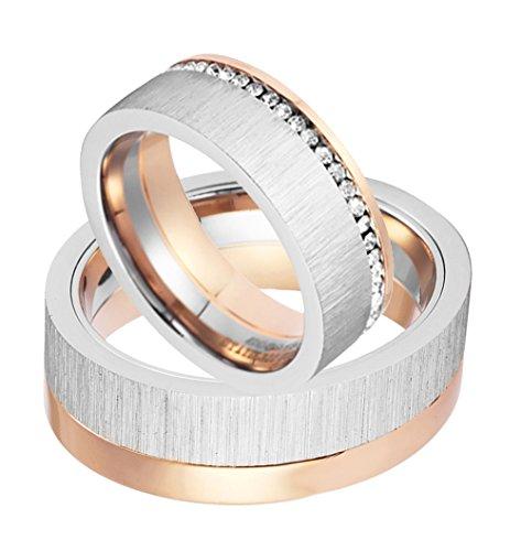 1 Paar Partnerringe zur Verlobung Trauung Hochzeit Freundschaft Eheringe aus Edelstahl Damenring mit rundum gefassten Zirkonia Steinen silber/rose incl Gravur - 2