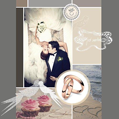 Eheringe Trauringe Rotgold Set AMOONIC mit Zirkonia Freundschaftsringe Paarpreis Verlobungsringe Partnerringe Silber 925 hochwertig vergoldet Ringpaar Hochzeitsringe Eheringe ER88VGRTZIFA-5060 - 2
