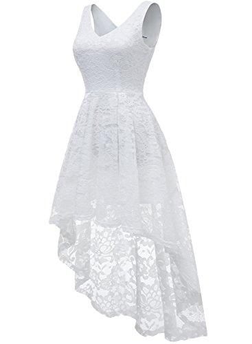 MUADRESS 6666 Vokuhila Cocktailkleider Hi-Lo Ärmellos Festliche Blumenmuster Ballkleider Spitzen Weiß XL - 2