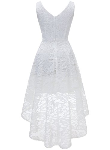 MUADRESS 6666 Vokuhila Cocktailkleider Hi-Lo Ärmellos Festliche Blumenmuster Ballkleider Spitzen Weiß XL - 4