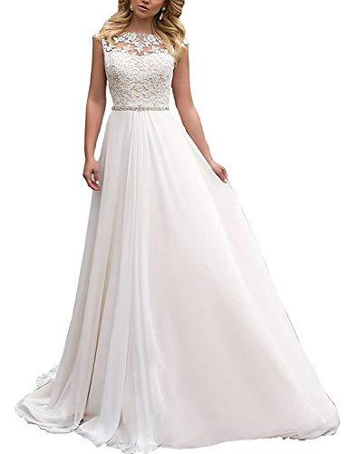 YASIOU Elegant Hochzeitskleid Lang, Rückenfrei, Weiß